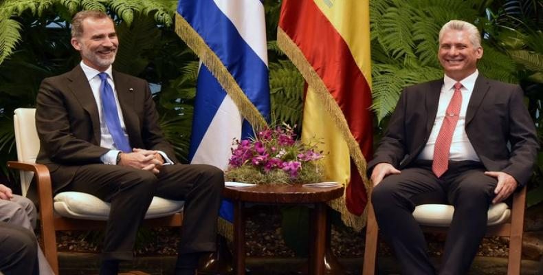 Encuentro de Díaz Canel con monarca español
