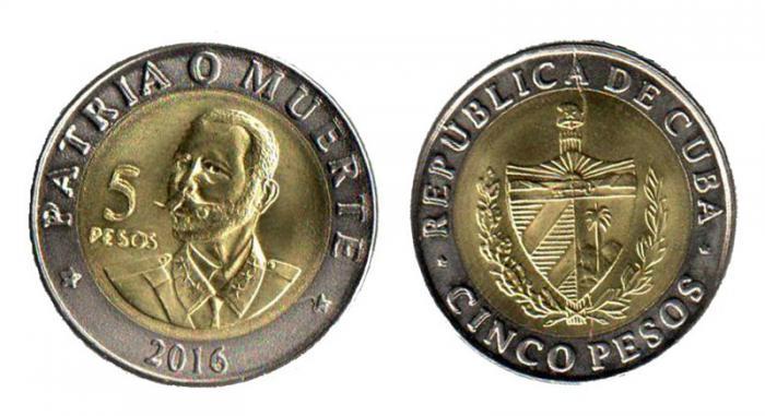 nueva moneda cinco pesos cubanos