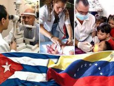 Banner alegórico a médicos cubanos en Venezuela
