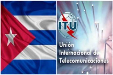 Bandera cubana y logo de la UIT
