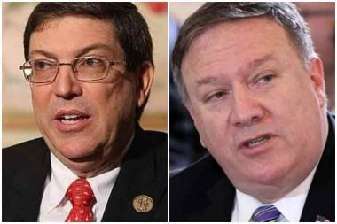 Canciller de Cuba, Bruno Rodríguez y el secretario de Estado de Estados Unidos, Mike Pompeo
