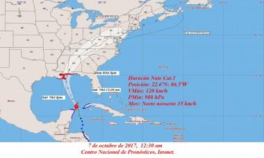 Cono de probabilidades del huracán Nate