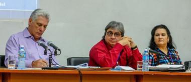 presidente de los Consejos de Estado y de Ministros, Miguel Díaz-Canel Bermúdez, el presidente del ICRT, Alfonso Noya Martínez entre otros miembros del Partido y de las distintas direcciones del Instituto.