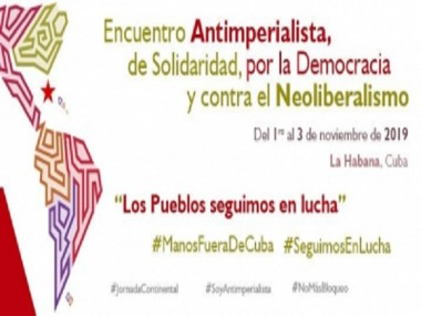 Banner del encuentro internacional antimperialista de solidaridad.