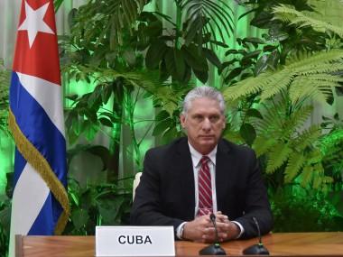 Miguel Díaz-Canel Bermúdez, Presidente de la República de Cuba, en la Cumbre Mundial Virtual de la Organización Mundial del Trabajo el 8 de julio de 2020.