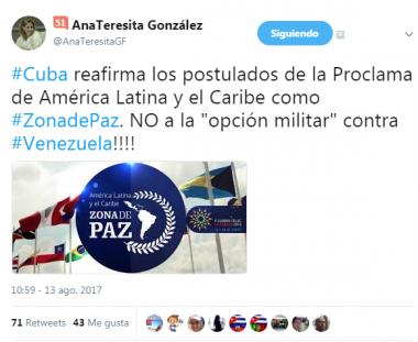 Cuenta de viceministra cubana Ana Tresita en Twitter